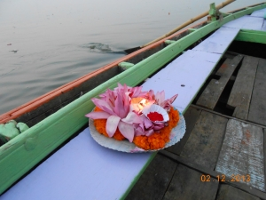 this is the flower dedication i placed into the Ganges river for my mother